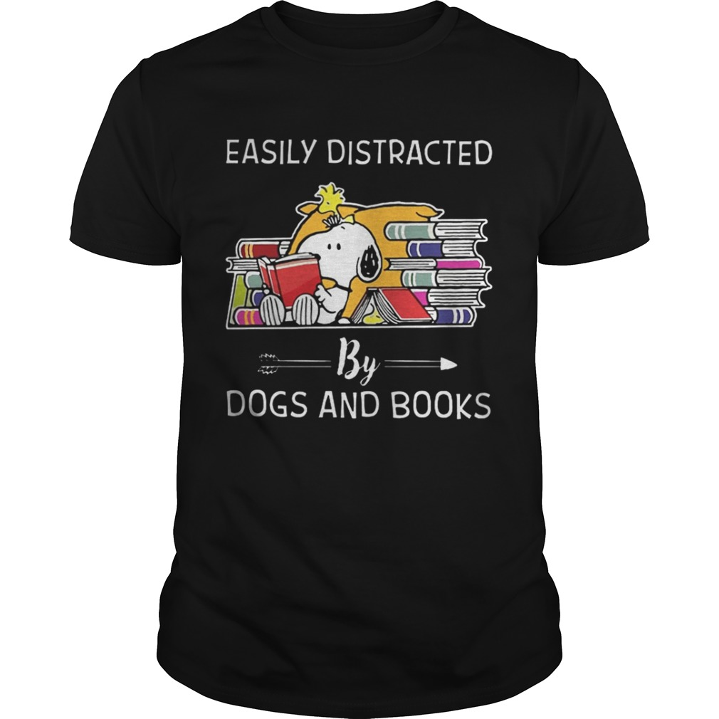 Easily distracted by dogs and books shirt