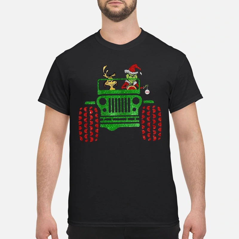 Grinch and Max drive Jeep shirt