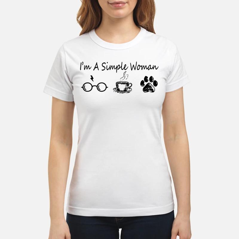 I'm a simple woman like Harry Potter coffee and dog shirt