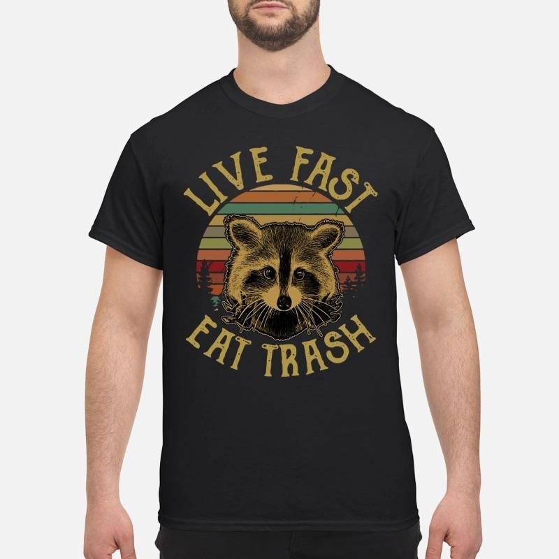The Sunset Raccoon Live Fast Eat Trash Shirt