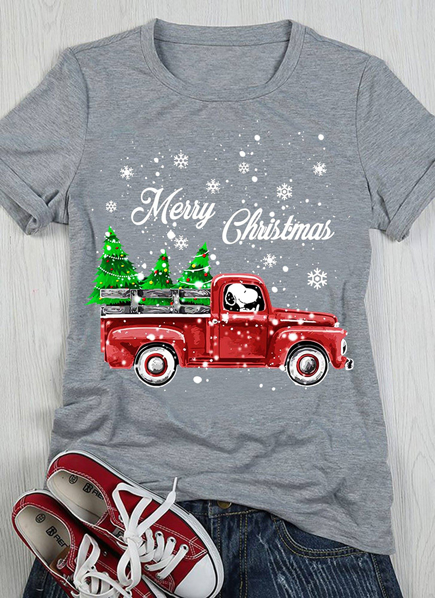 Merry Christmas Snoopy driving ugly Christmas tree sweater