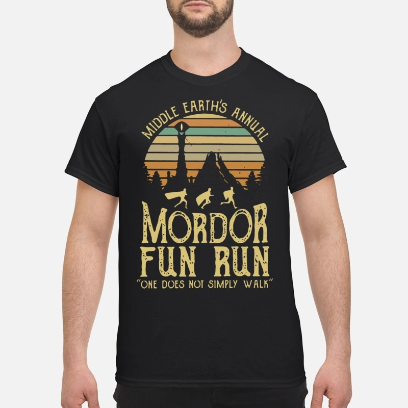 41bd84c65 Sunset Middle Earth's Annual Mordor Fun Run One Does Not Simply Walk Shirt
