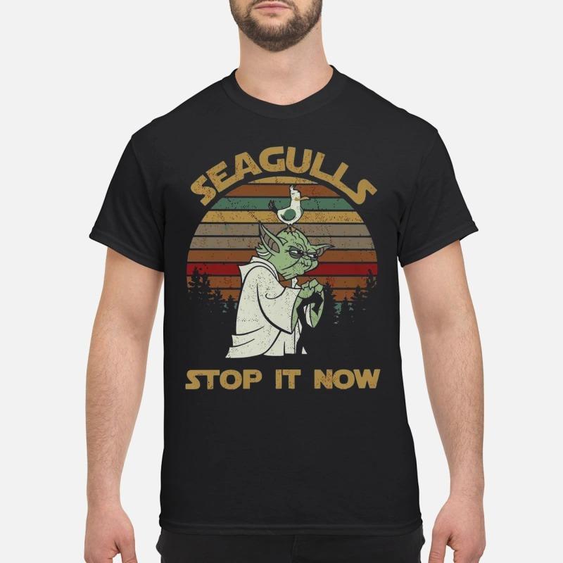 Sunset retro style Seagulls stop it now shirt