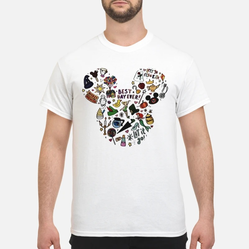 Multi-character Mickey Mouse head shirt