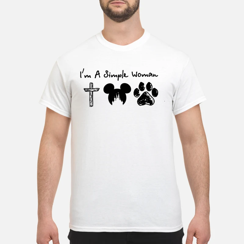 I'm a simple woman Cross Mickey Mouse and Paw Dog shirt