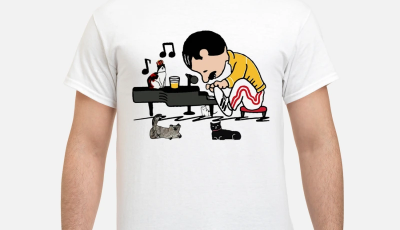 Freddie Mercury in style Schroeder play piano peanuts cats shirt
