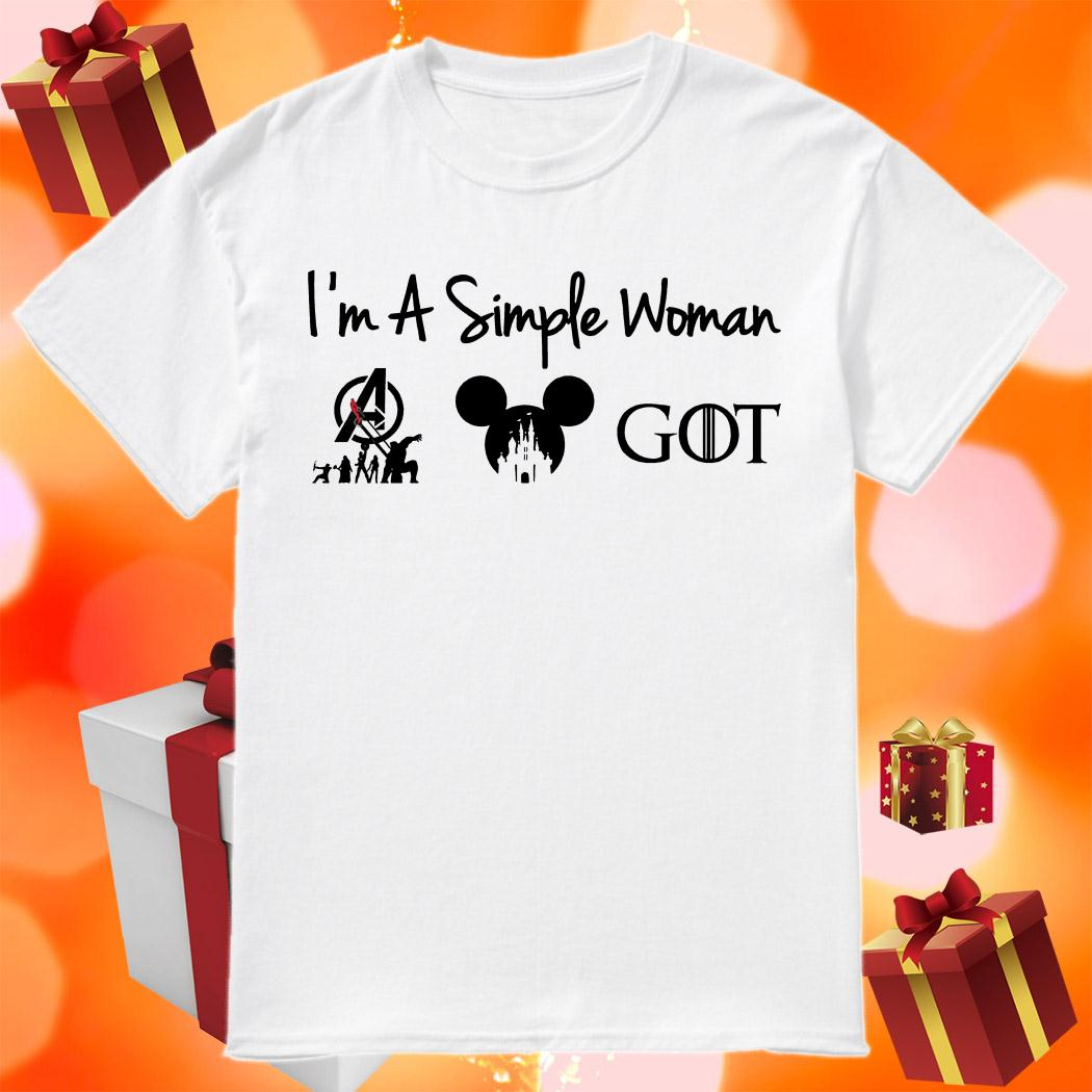 I'm a simple woman Avengers Disney and Game Of Thrones shirt