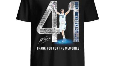 41 Dirk Nowitzki Jerseys signature thank you for the memories shirt