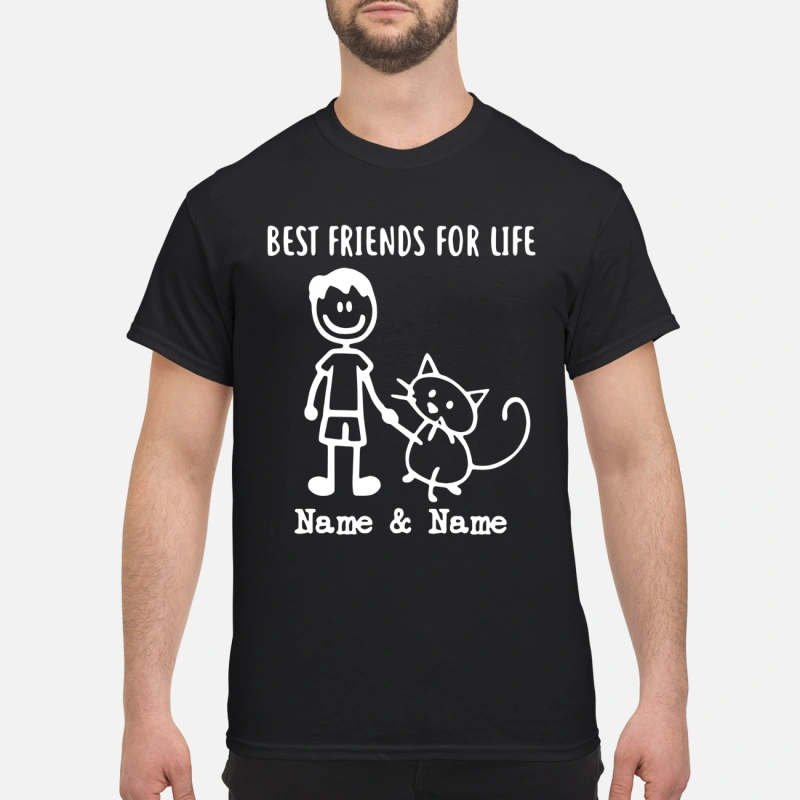 Best friends for life Name and Name boy and cat shirt