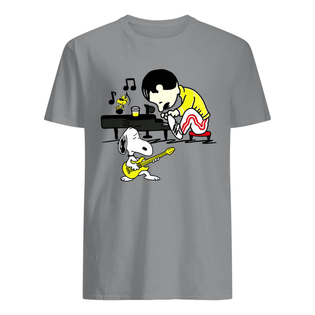 Freddie Mercury Peanuts Playing Piano Snoopy Playing Guitar Woodstock Shirt