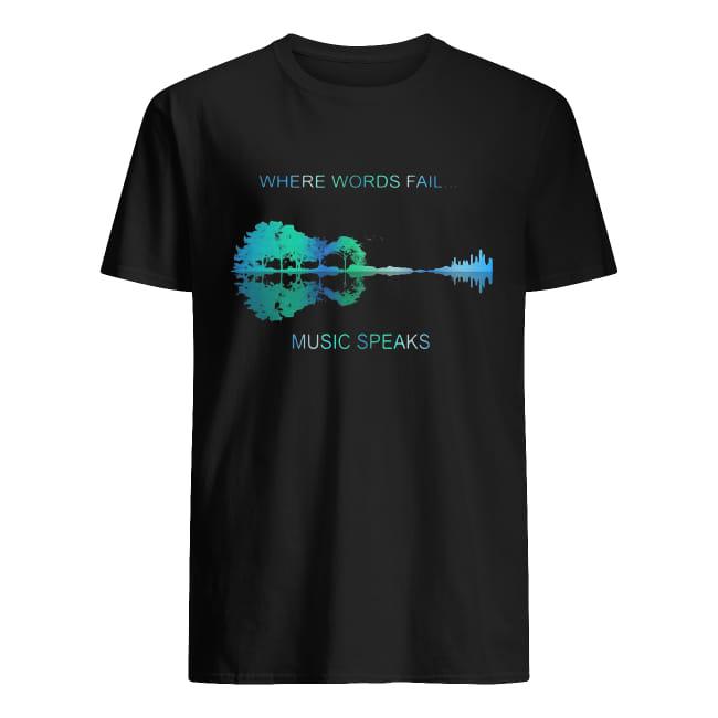 Guitar lake shadow Where words fail music speaks shirt