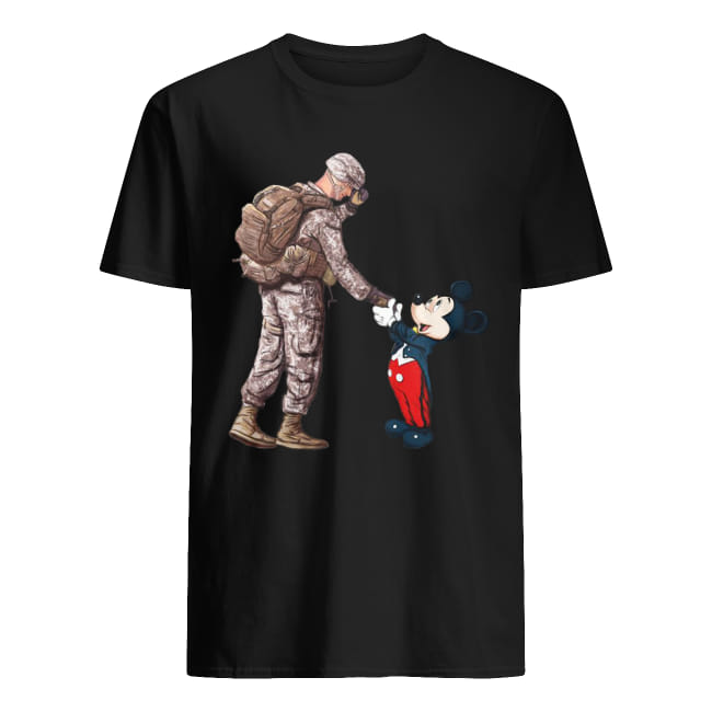 Soldier shake hands Mickey Mouse shirt