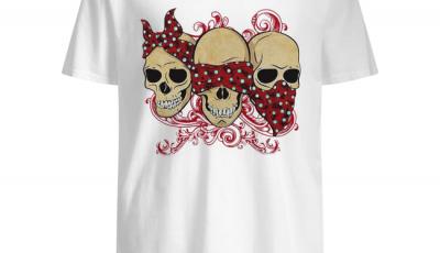 Three skulls with red bandanas shirt