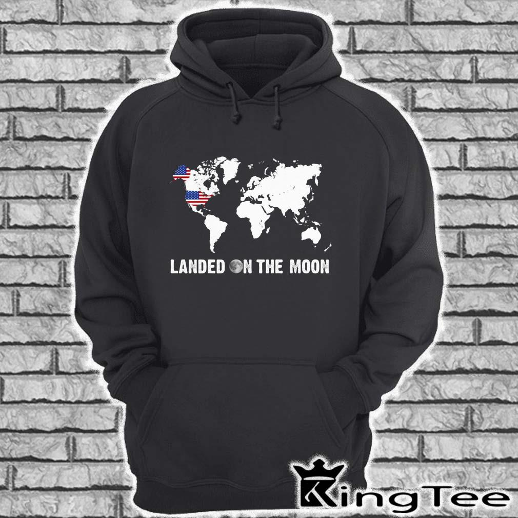 Landed on the moon world map mrmorial American flag hoodie