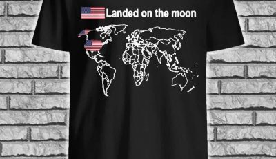 Landed on the moon American flag shirt