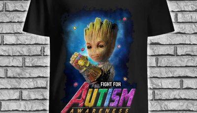 Baby Groot Gauntlet fight for autism awareness shirt