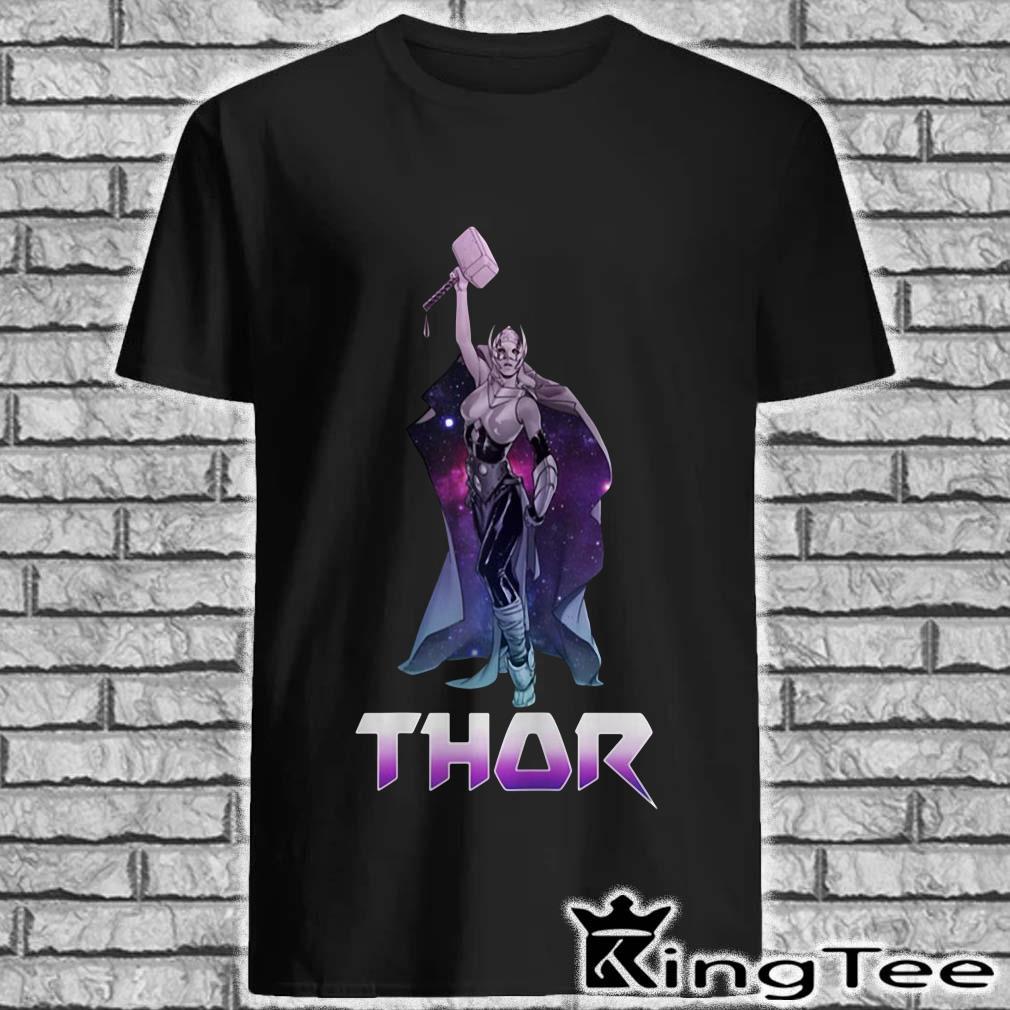 Marvel Female Thor Celestial Hammer In Air Shirt