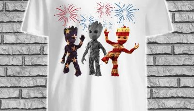 Three Groot American Flag Shirt