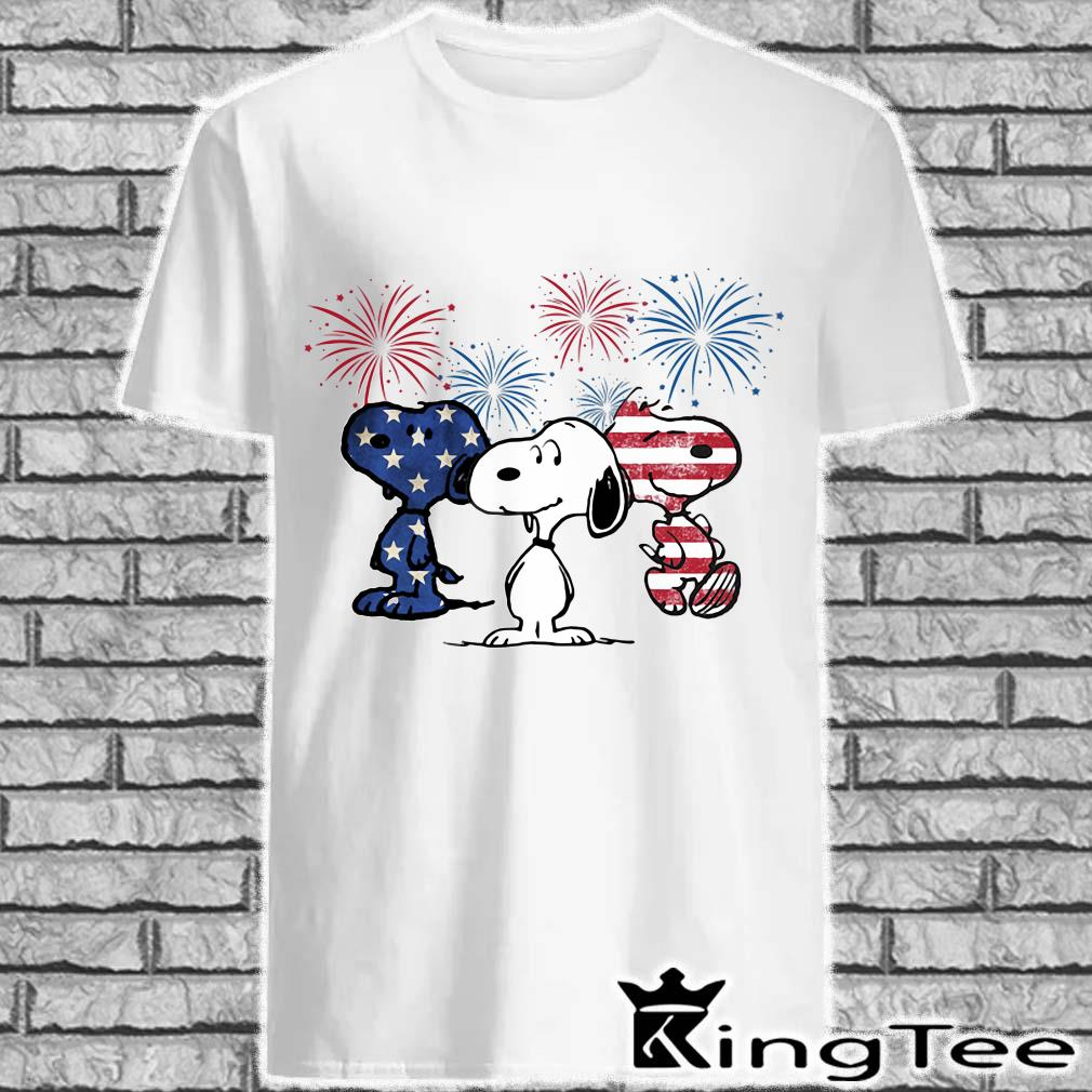 Three Snoopys American Flag Shirt