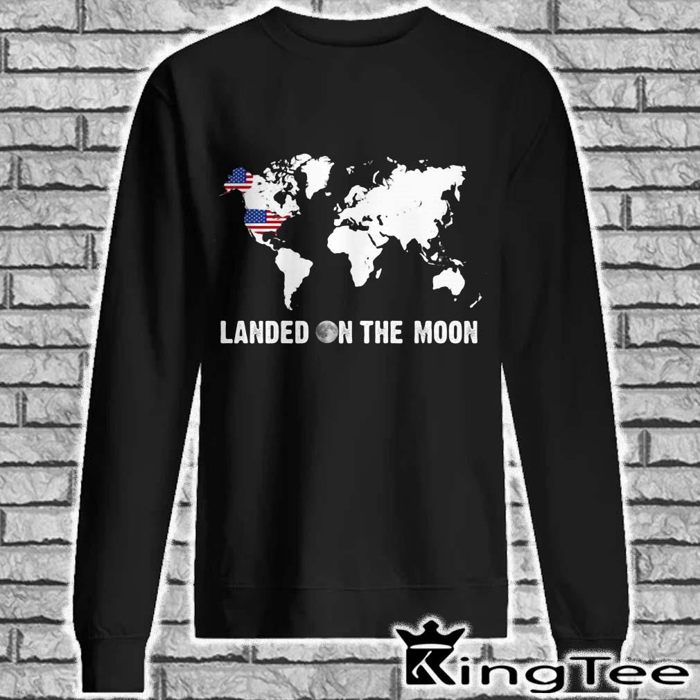 Landed on the moon world map mrmorial American flag sweater