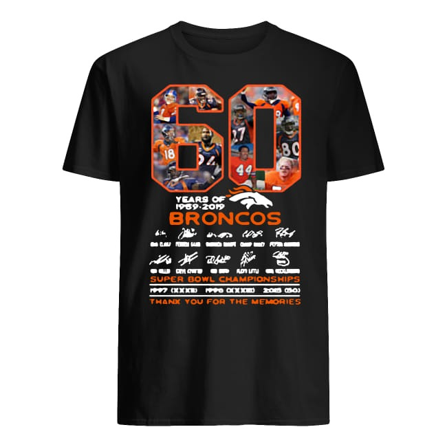 60 years of Broncos super bowl championships thank you for the memories shirt