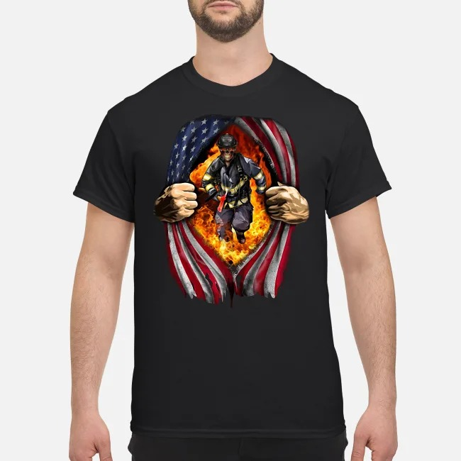 Blood Inside Me Firefighter American Flag Shirt