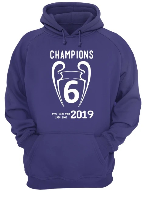Liverpool 2019 Champions League 6 Time Champions hoodie