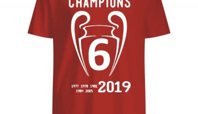 Liverpool 2019 Champions League 6 Time Champions shirt