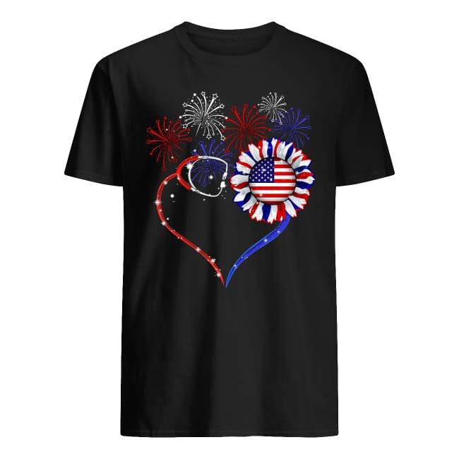 Nurses sunflower American flag shirt