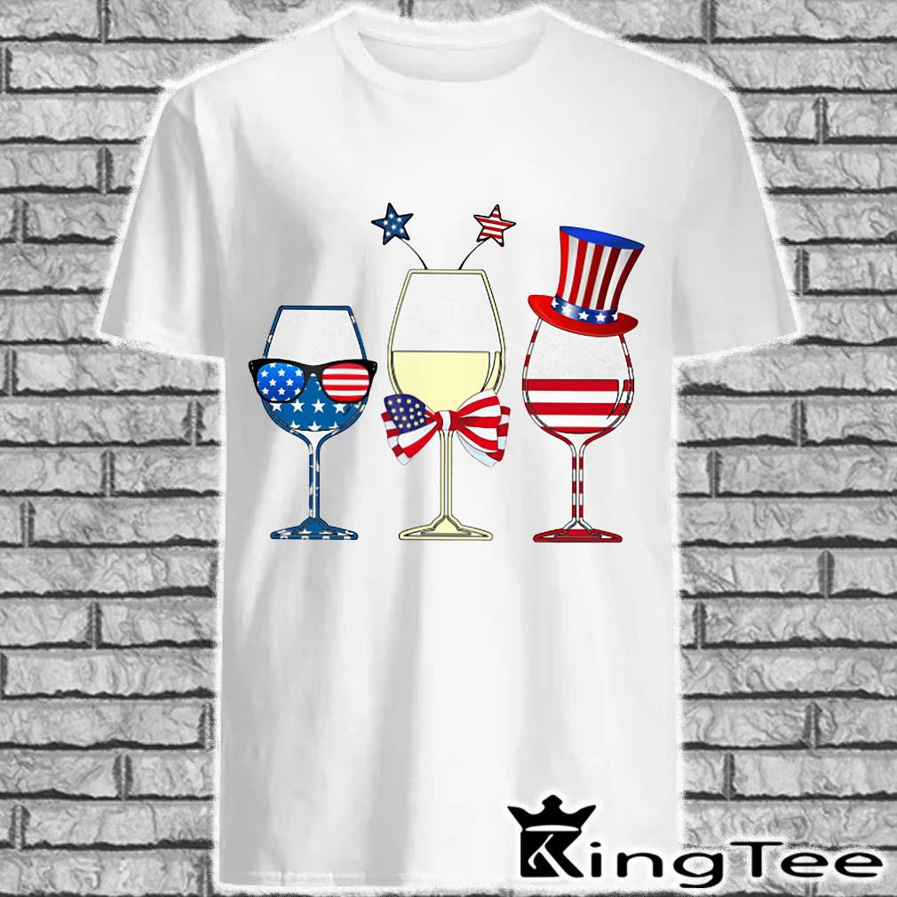 Three glass Wine American Flag Independence Day Holiday Shirt
