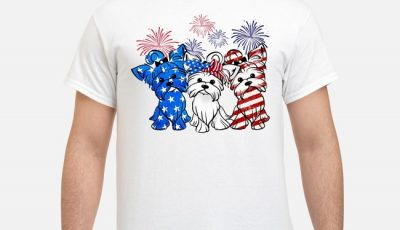 Yorkshire Terrier blue white and red American flag 4th Of July shirt