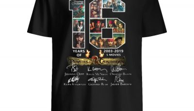 16 Years of Pirates Of The Caribbean 2003-2019 signatures shirt