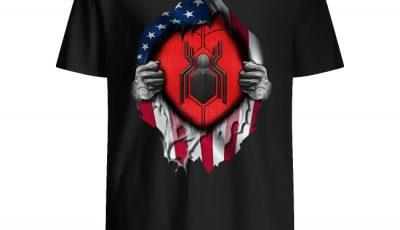 American flag blood inside me Spider-Man shirt