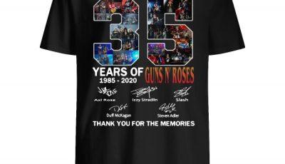 35 Years of Guns N' Roses 1985 2020 Signature thank you shirt