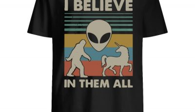 Bigfoot Alien Unicorn I believe in them all vintage shirt