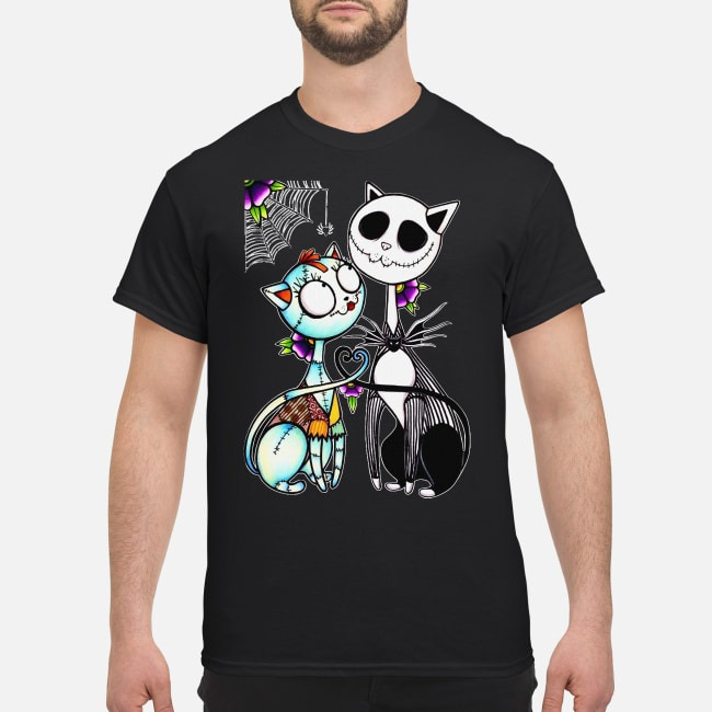 Cat Jack Skellington and Sally Halloween Shirt