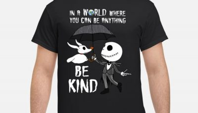 Jack Skellington an ghost stitch in a world where you can be anything be kind shirt