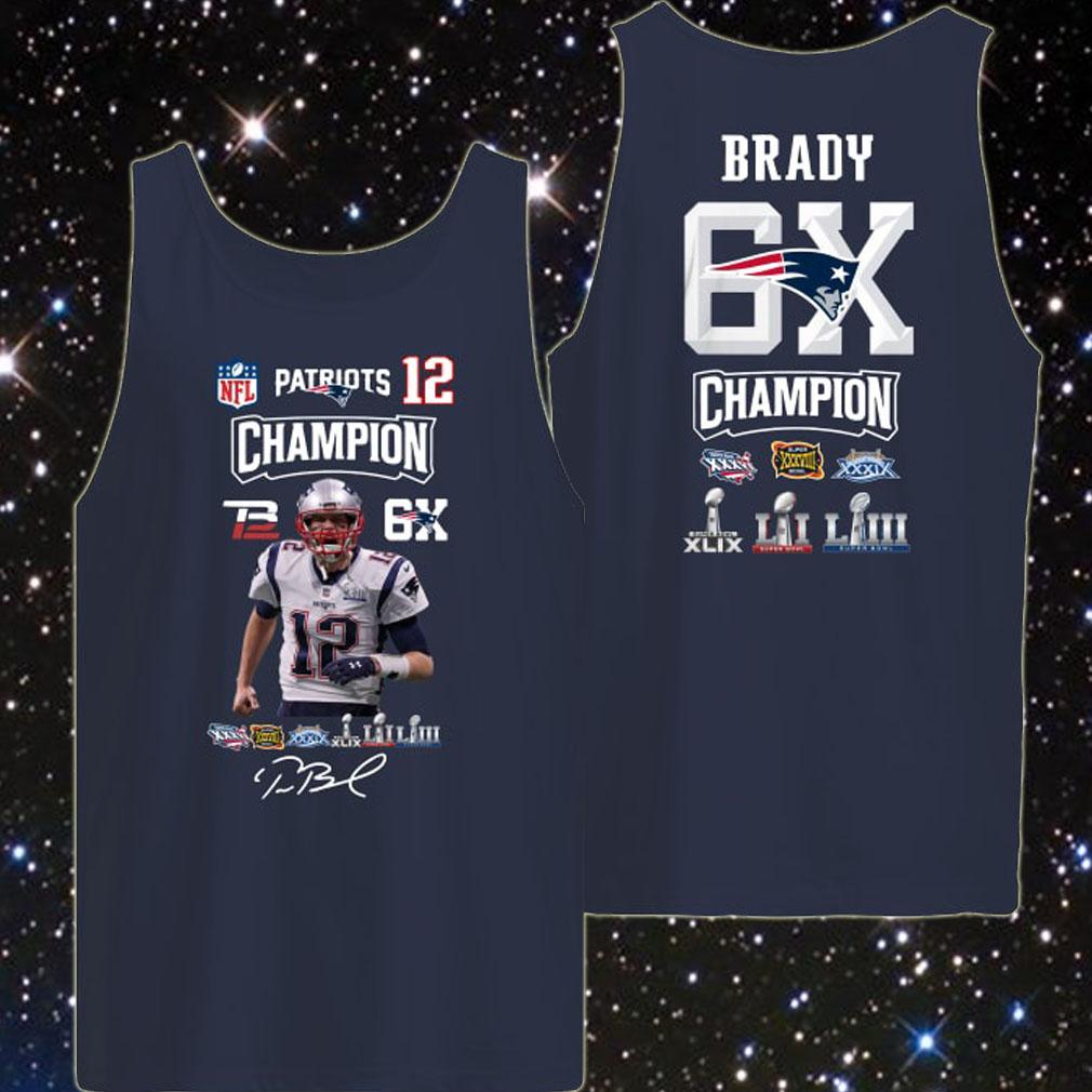 Tom Brady 12 Patriots Champion 6x tank top