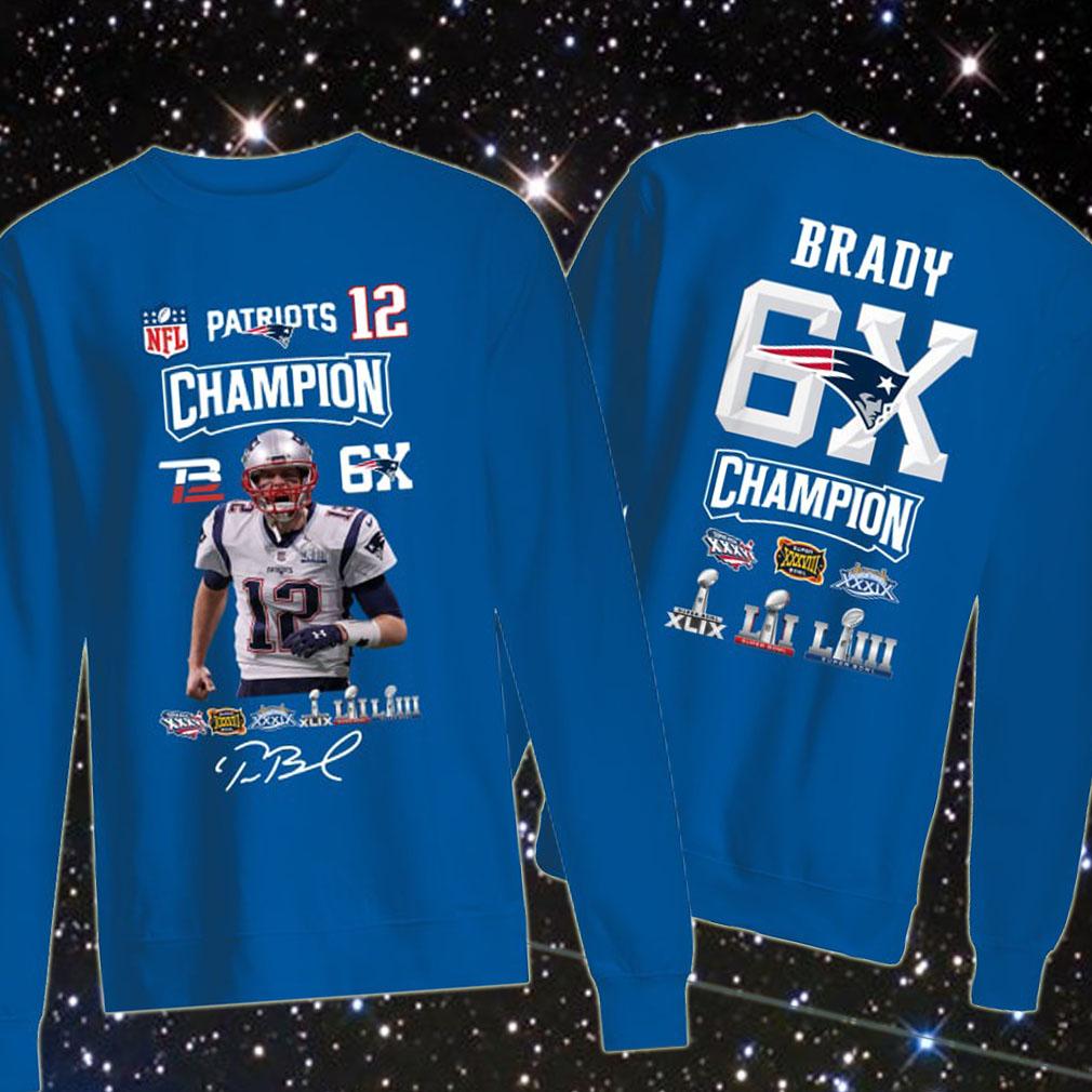 Tom Brady 12 Patriots Champion 6x Sweater