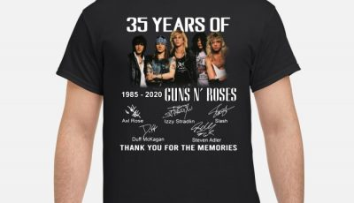 35 Years Of 1985-2020 Guns N' Roses thank you for the memories signature shirt