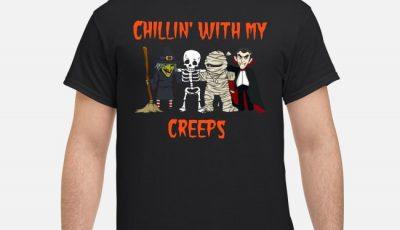 Chillin With My Creeps Vampire Skeleton Halloween Shirt