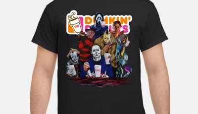 Dunkin Donuts All Horror movie characters halloween shirt