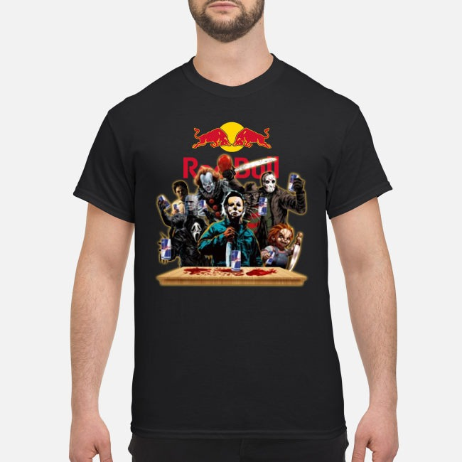 Horror Characters Drinking Red Bull Funny Halloween Shirt