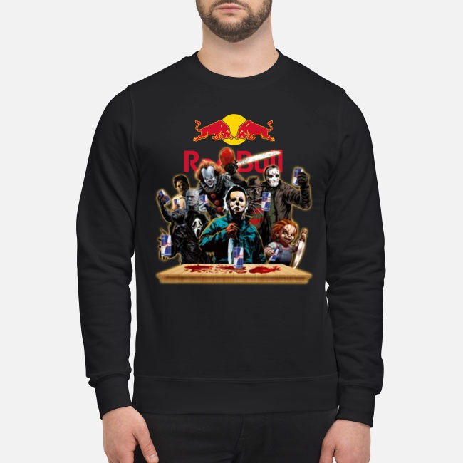 Horror Characters Drinking Red Bull Funny Halloween Sweater