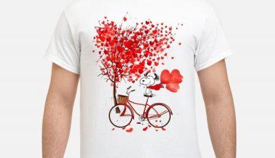 Snoopy ride bike under love tree shirt