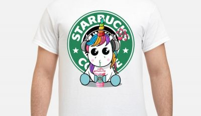 Unicorn Listening To Music Drink Starbucks Coffee Shirt