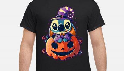 Witch Stitch sit on pumpkin Halloween shirt