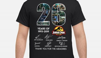 26 years Jurassic Park 1993-2019 thank you for the memories shirt