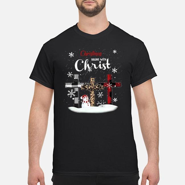 Christmas Begins with Christ Cross shirt