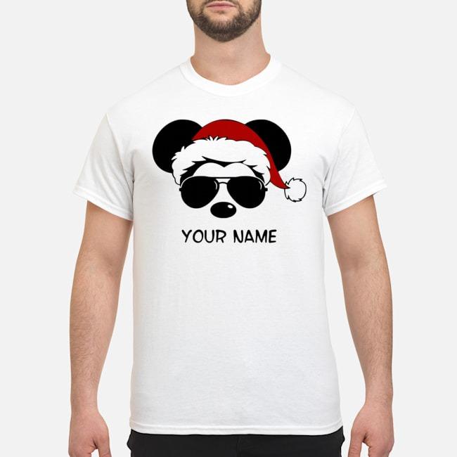 Custom Name Cool Mickey Santa Claus Christmas T-Shirt